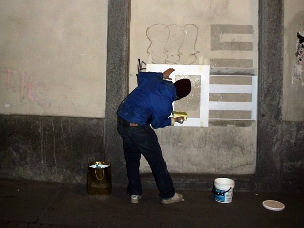 For a couple of nights I went to do graffitis with confetti and glue in Porta Palazzo neighbourhood.