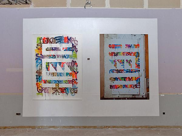 """""""Calle Buiza y Mensaque 3"""" (obra sobre papel y obra en la calle)"""