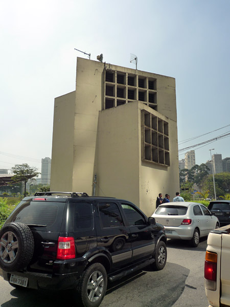 One of the building we had to paint, they were ventilation towers build over a road tunnel.